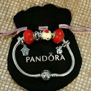 💕Pandora Clip Bracelet with all charms/beads!💖